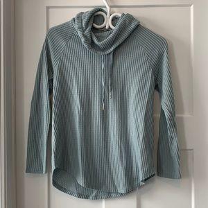 Cowlneck waffle knit shirt